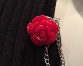 Sweater Pins: Red Rosettes with Double Silver Chain