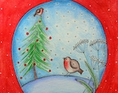 Christmas Tree and Robin Snow Globe