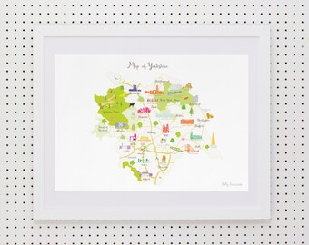 Map of Yorkshire Art Print