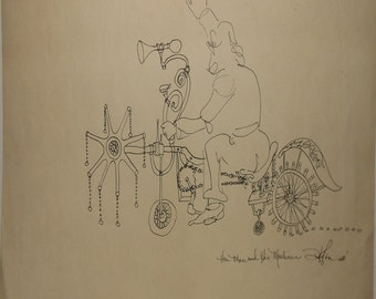 vintage ink drawing titled the man and his machine signed dated 1968