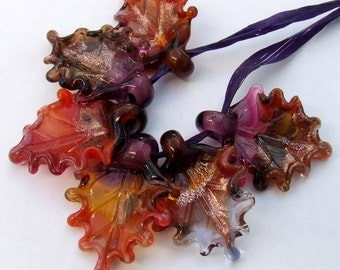 Lampwork Glass Leaves for Jewelry Making, Autumn Leaves, Set of 6 leaf beads in Fall Colors, Made to Order