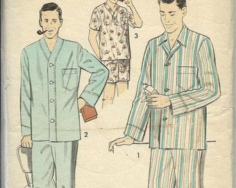 ON SALE 1950's Men's Pajama Pattern, Advance 8217 , Size 34-36