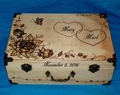 Wedding Box Card Box Wood Wedding Keepsake Box Love Letter Suitcase Trunk Burned Personalized Memory Reception Graduation Heart Decoration