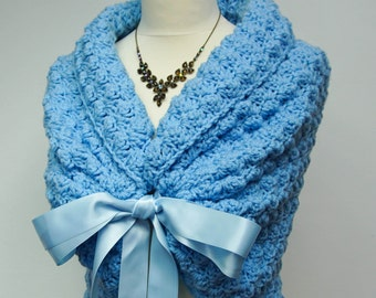 Blue Wedding Bolero, Bridal Shawl, Wedding Cape, Bridesmaid Cover Up, Blue Bolero Jacket, Crochet Shawl, Bridesmaids Gift, Bridal Capelet