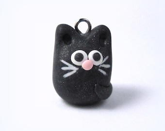 Black Cat Charm, Polymer Clay Cat jewelry, Cat bead findings