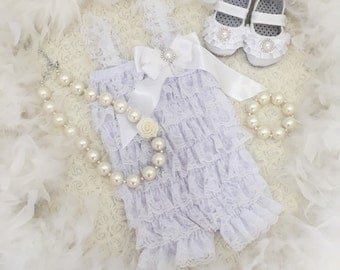 Baby lace embellished romper.