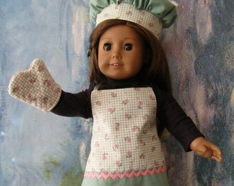 18 Inch Doll Clothes - Apron, Chef's Hat and Oven Mitt