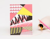 Flamingo Collage Blank Greetings Card