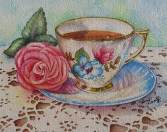 Downton Abbey's Lady Mary Teacup Reproduction Print