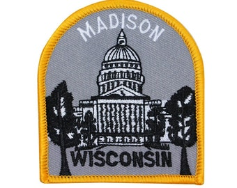"Souvenir Patch ""Madison Wisconsin"" State Capitol Dome Building Iron-On Applique"