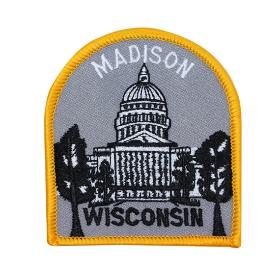 """Souvenir Patch """"Madison Wisconsin"""" State Capitol Dome Building Iron-On Applique"""
