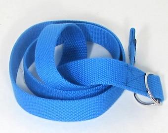 Blue D ring  canvas belt.   Canvas belt, size medium.