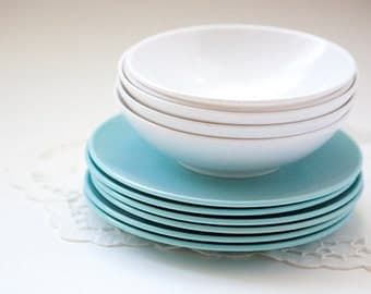 Mixed group of White and Turquoise Bowls and Small Plates