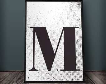Large letter m etsy for Party wall letter template