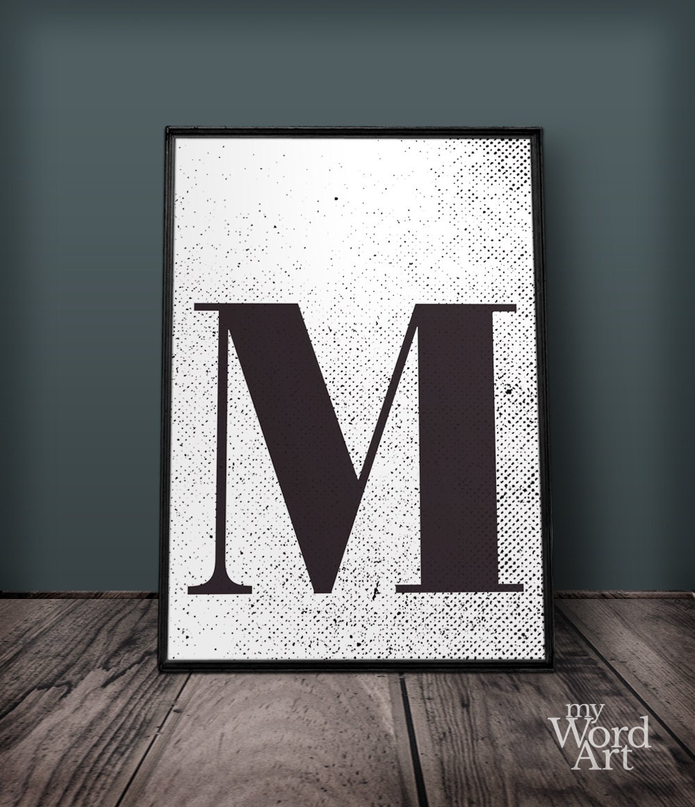 Letter m print letter wall art letter wall decor printable for Party wall letter template