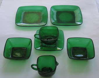 7 Pc. Lot Fire King Forest Green Square Charm Dinnerware by Anchor Hocking
