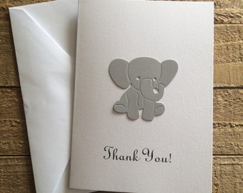 Baby Elephant Thank You White Note Cards, Baby Shower Thank You Cards, Set of 10, Baby Boy Girl Thank You Cards, Baby Elephant Cards