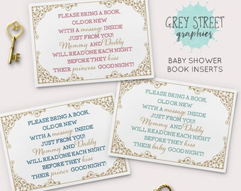 Baby Shower Book Poem Insert, Storybook Once Upon a Time Baby Shower
