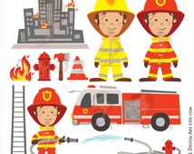 Firefighter Fireman Clipart Fire Truck Engine Rescue Clip Art Hydrant Axe Commercial Use Vector Teacher Graphics Digital Download 10686