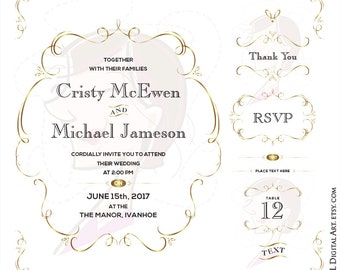 Gold Wedding Clipart Save The Date RSVP Thank You Commercial Use Swirl Frame Vector Files Vintage DIY Invitations Make Your Own Invite 10082