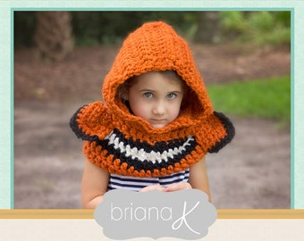 Clown Fish Hooded Cowl PATTERN with Neck Warmer- Instant Download- Sizes 1-3 years (4-7 years, 8-12 years, teen/adult)