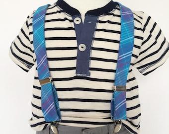 Blue and Purple Plaid Suspenders