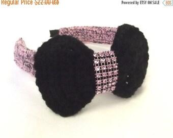 FALL SALE, Pink Crochet Headband - Black Bow Hair Accessory - Rock a Billy Hair Band