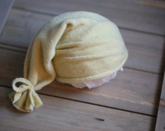 RTS Yellow Upcycled Newborn Hat