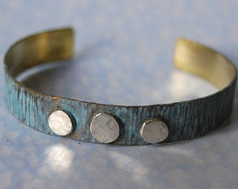Brass and three sterling silver dots cuff