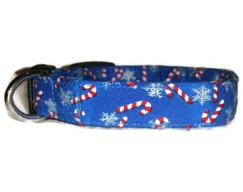 Christmas Dog Collar Candy Canes and Snow Snowflakes Adjustable Collar Quick Ship