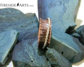 Twisted Spinner Ring. 7 mm. Copper Sterling Silver Mediation Ring. Fidget Ring. wide band tree bark patina hammered spinning Metalsmith