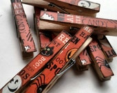 Orange Halloween Themed Decoupage Clothespins Set of 10