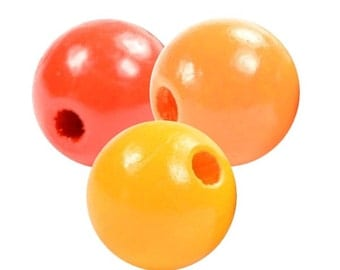 Exclusive wooden beads orange/red mix
