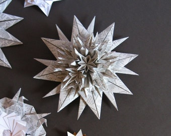 Origami Star Wall Sculpture -  Black & White Paper Wreath - Starburst Wall Decor - Paper Sculpture - Paper Anniversary - Night Sky Decor
