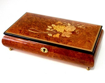 Vtg MUSIC BOX Jewel 11 x 6 Italian Marquetry Burl Wood Bombe Swiss REUGE Movement Plays The Way We Were Brass Feet Floral Ex Cond Works Grt