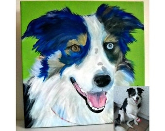 Custom Pet Portrait  - Custom Dog Portrait - Acrylic on Wrapped Canvas - Dog Art  -  Hand-painted - Animal Art