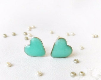 Mint stud earrings, Valentine gift, Tiny hearts, Mint green ear posts, Heart studs, Hearts jewelry, Gift for her