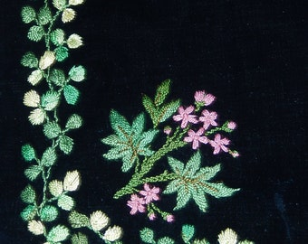 Antique embroidered silk velvet apron pinny vibrant silk colours lace trimmed c1880 lined