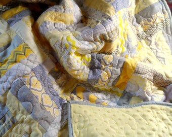 Modern grey and yellow quilt with a soft minky back for baby or adult: , lap quilt, baby blanket, toddler quilt, baby quilt