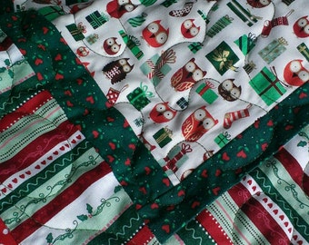 Quilted Christmas owls table runner, reversible