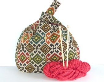 Knitting Bag, Southwest Tote Bag, Tribal Aztec Project Bag- Earth Tone Handbag, WIP Bag