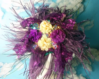 Purple flapper hair clip brooch, flapper hair clip, scarf pin, flapper brooch, feather hair clip, 1920s hair clip, 1920s brooch, flapper pin