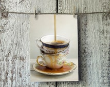 Spilled Tea - Free US Shipping - 4x6 Photo Postcard - Stacked Vintage Tea Cups  - Food Photography - Still Life - Small Art