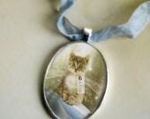 Kitten / Cat Lovers - Beautiful Silver Fairy Choker/Pendant ' Spell Practice' comes with  silk or velvet ribbon tie