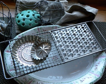 Antique FRENCH Bakery VERY FINE Perforated Pierced Zinc Handled Wire Ware Serving Trivet, Appetizer Tray, Photo Props, No Rust or Old Grease
