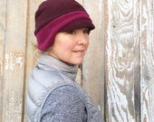 Women's Winter Fashion - Polar Fleece Women's Winter Hat - Women's Winter Hat - Fleece Hat for Women - Winter Hat - Two Tone Maroon - Sizes