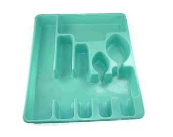Vintage Aqua Rubbermaid Silverware Drawer Organizer Tray