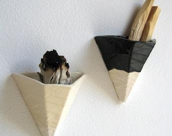 Wall Planter or Smudge Sconce - Slipcast White Ceramic Pyramid