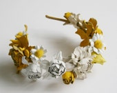 Summer Style Daisy and Rose Flower Leather  Headband