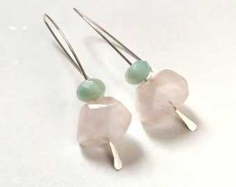 Pastel Rose Quartz & Amazonite Gemstone Earrings (Sterling Silver)